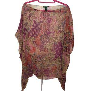Lauren Ralph Lauren Paisley 100% Silk Sheer Tunic